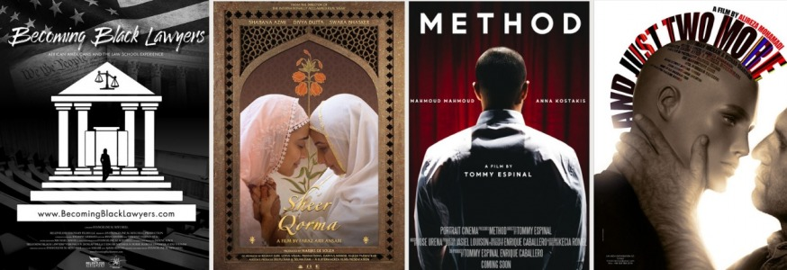 """Posters for some of the short movies which will be shown at the Sunnyside Shorts International Film Festival, from left to right, """"Becoming Black Lawyers,"""" """"Sheer Qorma,"""" """"And Just Two More"""" and """"Method"""" (Posters provided by Sherry Gamlin)"""