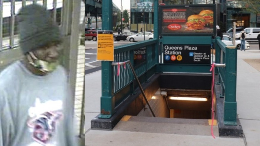 The suspect and a Queens Plaza subway station entrance