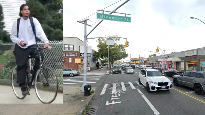 The suspect and the corner of Bleecker Street and Fresh Pond Road (NYPD and Google Maps)